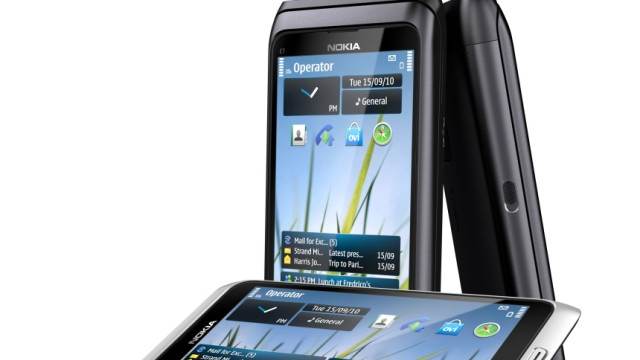 The new Nokia E7 smartphone is seen in this handout photograph released in London