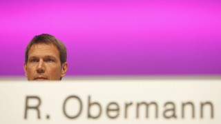 Deutsche Telekom AG CEO Obermann poses during the general meeting in Cologne